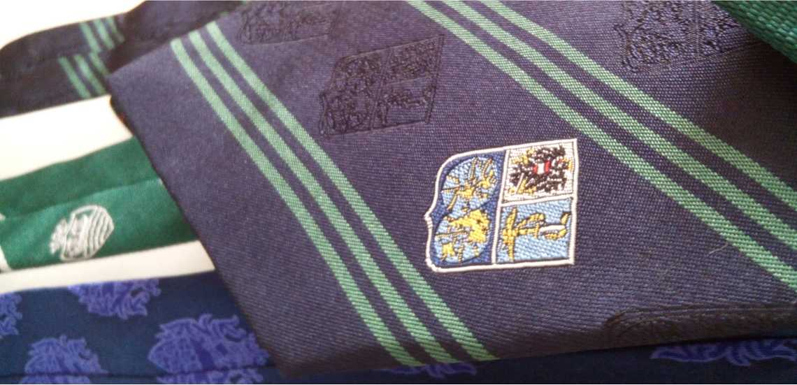 custom club ties with crest & stripes